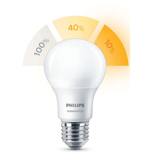 Bec LED PHILIPS SSW A60, 8W(60W), E27, 3 teme de culoare