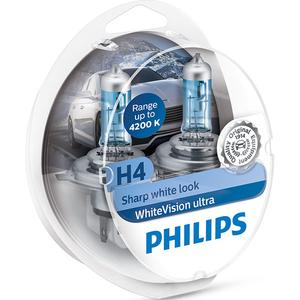 Bec auto PHILIPS White Vision Ultra, 55/60W, 12V, H4, 2 buc