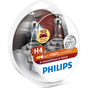 Bec auto PHILIPS Xtreme Vision, 55/60W, 12V, H4, 2 buc