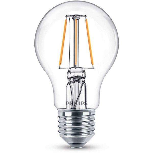 Bec LED PHILIPS FILAMENT A60, 4W (40W), E27, Lumina Calda