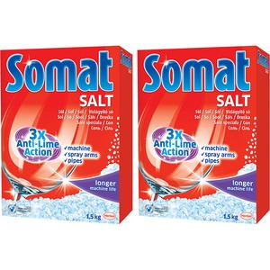 Sare dedurizanta pentru masina de spalat vase SOMAT, 2 x 1.5kg