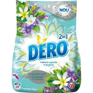 Detergent automat DERO 2 in 1 Iris Alb si Romanita, 2kg, 20 spalari