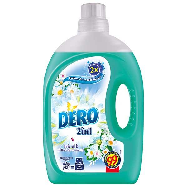Detergent automat  lichid DERO 2 in 1 Iris Alb si Romanita, 2.94l, 42 spalari