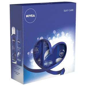 Set cadou NIVEA Silky Care: Spuma de baie, 200ml + Sampon, 250ml + Deodorant spray, 150ml