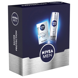 Set cadou NIVEA Men Silver Protect: Lotiune dupa ras, 100ml + Deodorant spray, 150ml