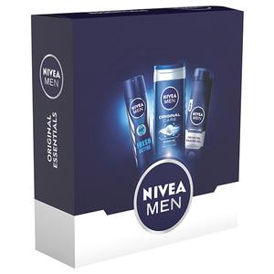 Pachet promo NIVEA Men Original Esential: Gel de ras, 200ml + Gel de dus, 200ml + Deodorant spray, 150ml