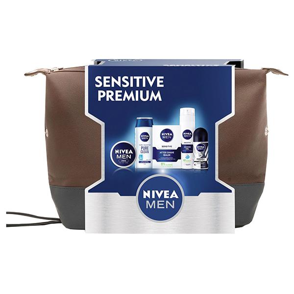 Pachet NIVEA Men Sensitive Premium: Gel de Ras 200 ml + Balsam dupa ras 100ml + Deodorant Roll-on 50ml + Sampon 250ml + Crema 75ml