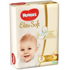Scutece HUGGIES Elite Soft 3, Unisex, 5 - 9 kg, 80 buc