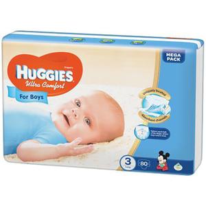 Scutece HUGGIES Ultra Confort 3, Baieti, 5 - 9 kg, 80 buc