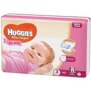Scutece HUGGIES Ultra Comfort 3, Fete, 5 - 9 kg, 80 buc