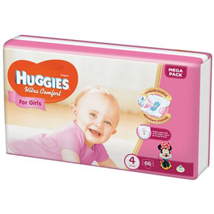 Scutece HUGGIES Ultra Comfort 4, Fete, 8 - 14 kg, 66 buc