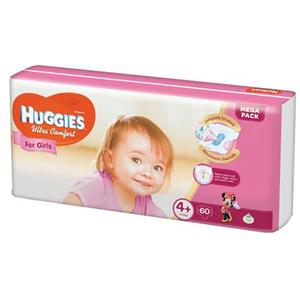 Scutece HUGGIES Ultra Confort 4+, Fete, 10 - 16 kg, 60 buc