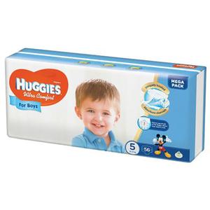 Scutece HUGGIES Ultra Confort 5, Baieti, 12 - 22 kg, 56 buc