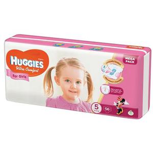 Scutece HUGGIES Ultra Confort 5, Fete, 12 - 22 kg, 56 buc