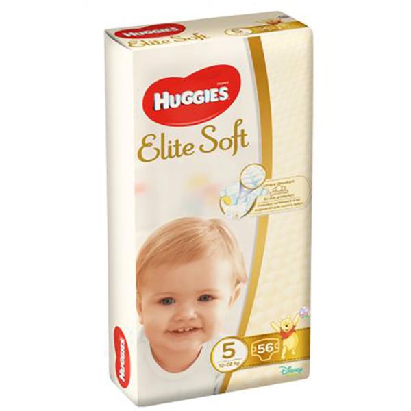 Scutece HUGGIES Elite Soft nr 5, Unisex, 12 - 22 kg, 56 buc