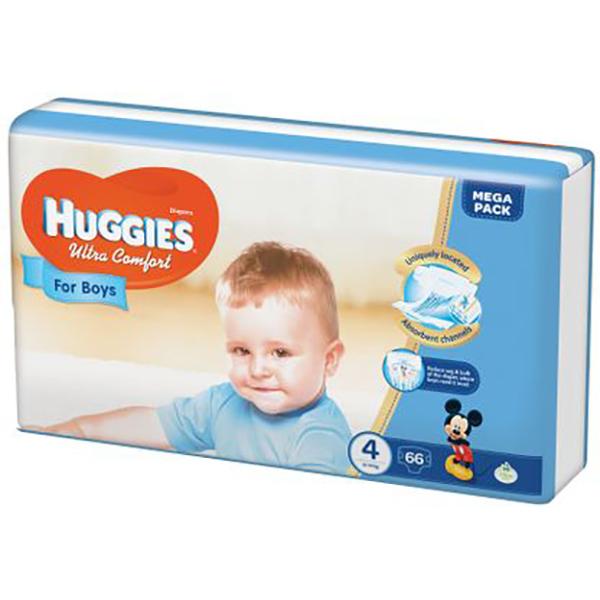 Scutece HUGGIES Ultra Confort 4, Baieti, 8 - 14 kg, 66 buc