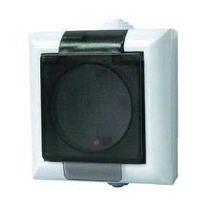 Priza de exterior cu impamantare GAO 9567H, 1 loc, alb-negru