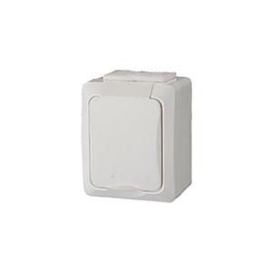 Priza de exterior cu impamantare GAO 9853H, 1 loc, alb