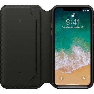 Husa Flip Cover pentru APPLE iPhone X, MQRV2ZM/A, piele, Black