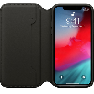 Husa Flip Cover pentru APPLE iPhone Xs, MRWW2ZM/A, piele, Black