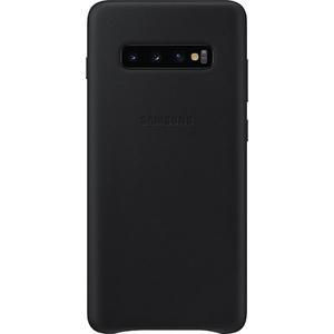 Carcasa Leather Cover pentru SAMSUNG Galaxy S10 Plus, EF-VG975LBEGWW, piele naturala, negru
