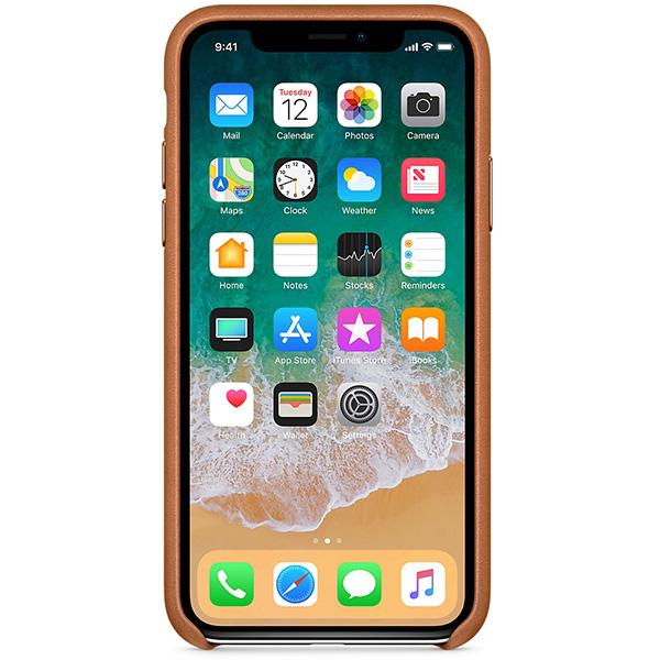 Carcasa din piele pentru iPhone X, APPLE MQTA2ZM/A, Saddle Brown
