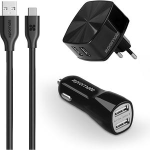 Kit incarcator retea + auto + cablu Type C PROMATE uniCharger, Type C, negru