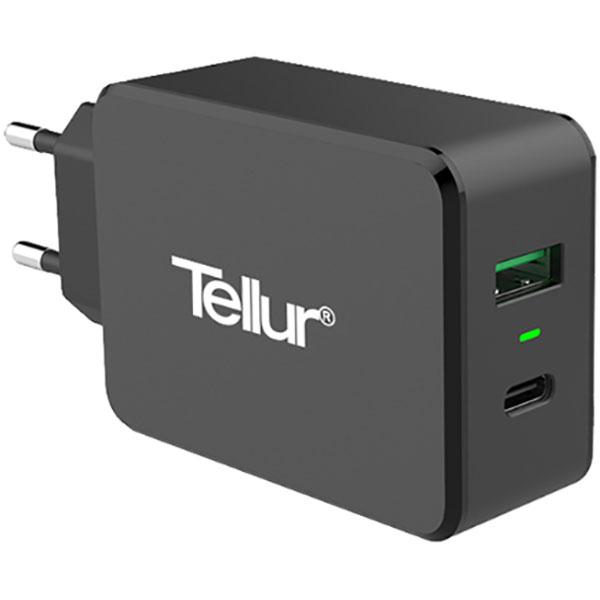 Incarcator retea TELLUR TLL151071 Type C/USB A, negru