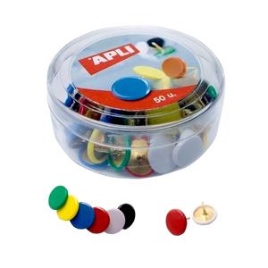 Pioneze colorate APLI, 50 buati/cutie