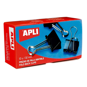 Clipsuri metalice pentru hartie APLI, 25 mm, 12 buc/cutie, negru