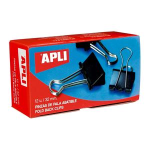 Clipsuri metalice pentru hartie APLI, 32 mm, 12 buc/cutie, negru