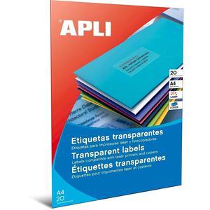 Etichete autoadezive APLI, A4, 210 x 297 mm, 20 bucati, 20 coli/set