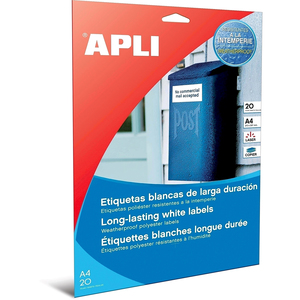 Etichete autoadezive APLI, A4, 210 x 297 mm, 20 bucati, poliester, 20 coli/set