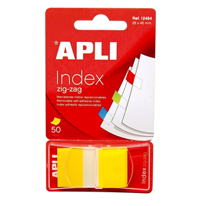 Index APLI, 24 x 45 mm, hartie, 50 file, galben