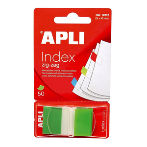 Index APLI Pop-up, 25 x 45 mm, hartie, plastic, 50 file, verde