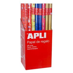 Hartie de impachetat APLI, 70 cm x 2 m, hartie, model Craciun, 55 bucati/set