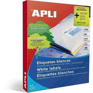 Etichete autoadezive APLI, A4, 70 x 424 mm, 2100 bucati, 100 coli/top