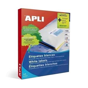 Etichete autoadezive APLI, A4, 210 x 297 mm, 100 bucati, 100 coli/top