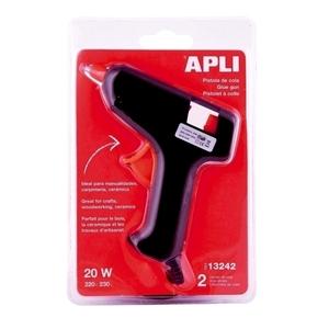 Pistol de lipit APLI, 20W, negru + 2 bureti termoizolanti