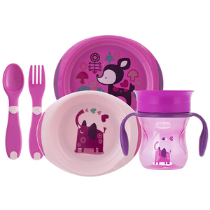 Set complet hranire CHICCO, 12 luni +, 5 piese, roz