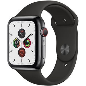 APPLE Watch Series 5 GPS + Cellular, 44mm Space Black Stainless Steel Case, Black Sport Band