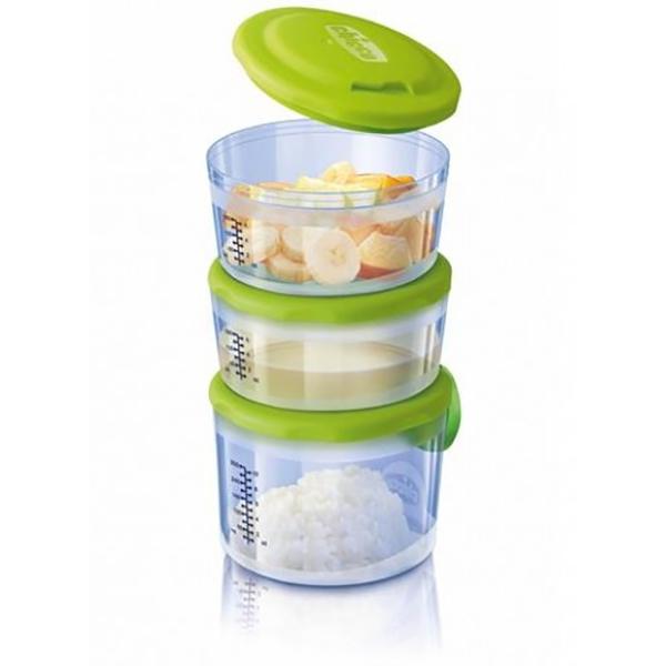 Recipiente stocare hrana CHICCO, 6 luni +, 3 piese, verde - trasparent