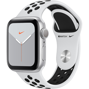 APPLE Watch Series 5 40mm Silver Aluminium Case, Pure Platinum/Black Nike Sport Band