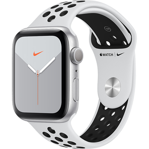 APPLE Watch Series 5 44mm Silver Aluminium Case, Pure Platinum/Black Nike Sport Band