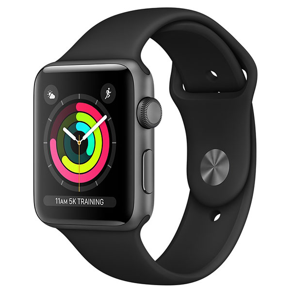APPLE Watch Series 3 38mm Space Gray Aluminium Case, Black Sport Band