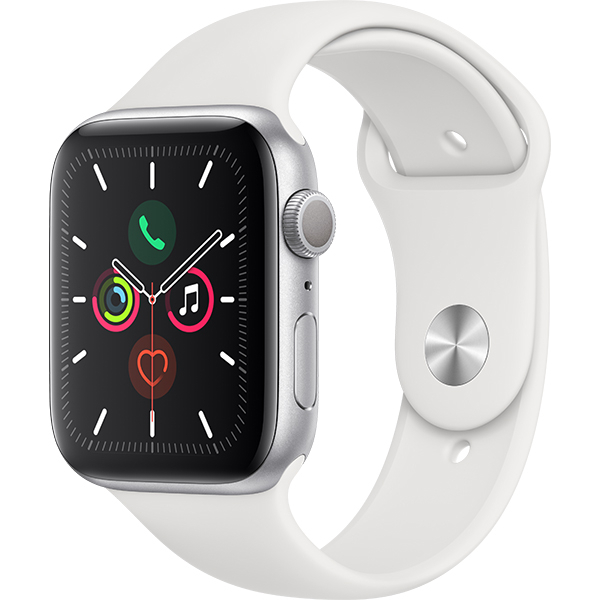 APPLE Watch Series 5 44mm Silver Aluminium Case, White Sport Band