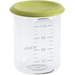 Recipient ermetic BEABA, 6 luni +, 120 ml, verde fosforescent - transparent