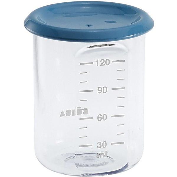 Recipient ermetic BEABA, 6 luni +, 120 ml, albastru - transparent