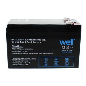 Acumulator plumb acid  WELL BAT-LEAD-12V9AH/T2-W, 12V, 9 Ah