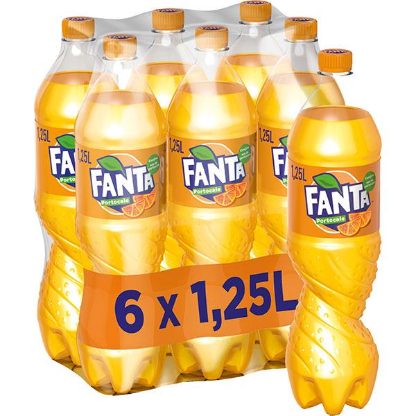 Bautura racoritoare carbogazoasa FANTA Orange bax 1.25L x 6 sticle